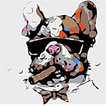 YEESAM ART New Paint by Numbers Kits for Kids, Diy Oil Painting - Cool Dog Face 25X25cm - Framed, Christmas Gifts