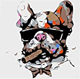 YEESAM ART New Paint by Numbers Kits for Kids, DIY Oil Painting - Cool Dog Face 25X25cm - Framed
