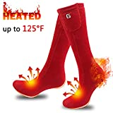 SVPRO Electric Rechargeable Battery Heated Socks,Men Women Powered Heating Socks,Sports Outdoors Winter Warm Socks,Thermal Heating Camping Hiking Climbing Foot Warmer(Red)