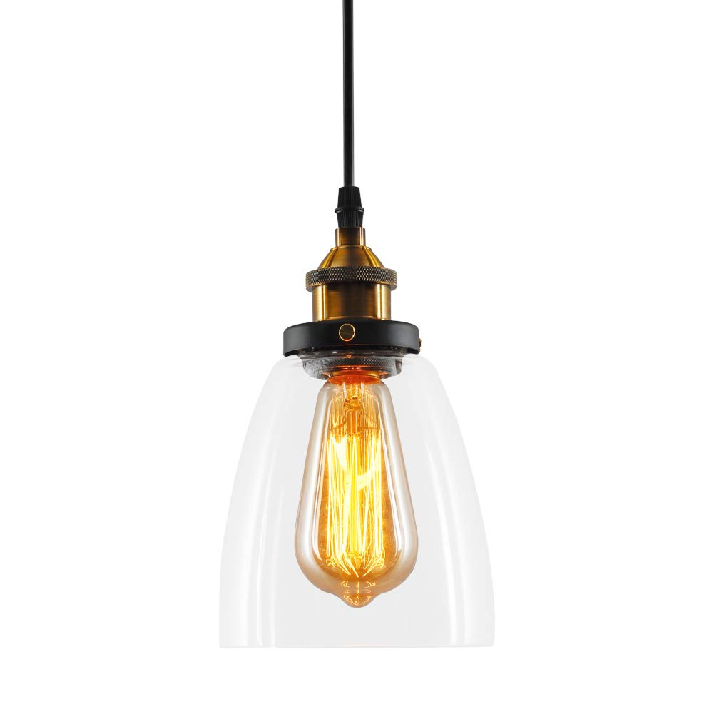 T&A Glass Pendant Light Industrial Edison Vintage Style - 1 Light Hanging Light (Funnel Lamp)