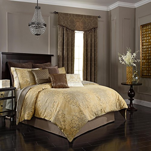 Queen Gold Comforter - Beautyrest  Sandrine 92-Inch by 96-Inch 4-Piece Queen Comforter Set, Gold