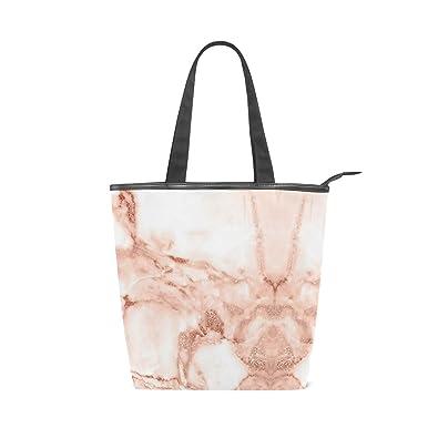 ba7f518a6d8f Rose Gold Marble Print Women's Canvas Iconic Large Handbag Shoulder ...