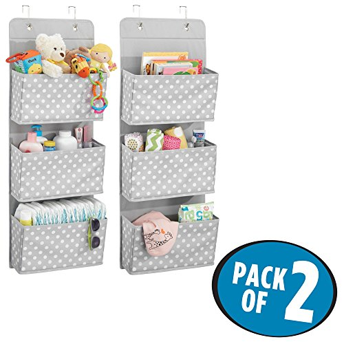 mDesign Soft Fabric Over the Door Hanging Storage Organizer with 3 Large Pockets for Child/Kids Room or Nursery - Fun Polka Dot Pattern, Hooks Included, Pack of 2, Light Gray with White Dots by mDesign