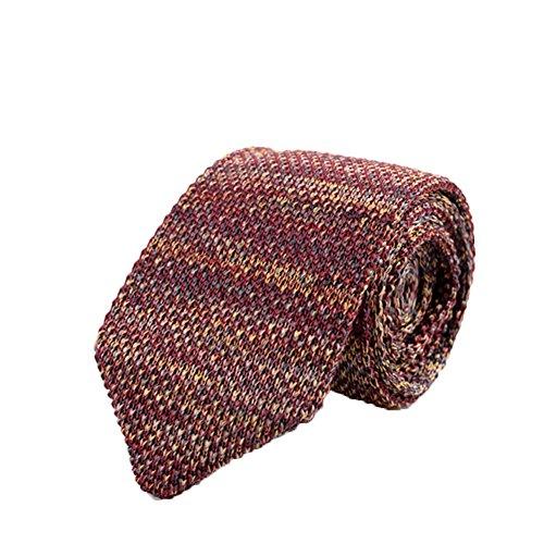 Vintage Polyester Necktie (Freedi Mens Skinny Knit Tie Vintage Smart Casual Polyester Necktie for Groom)