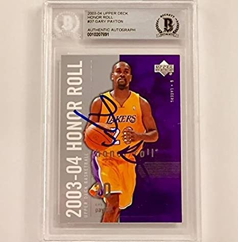 2059244f105 GARY PAYTON Signed 2003-04 UD Honor Roll LAKERS Autograph card ~ BAS BGS  Beckett - Beckett Authentication at Amazon s Sports Collectibles Store
