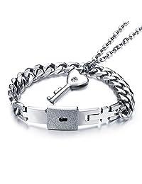 Fate Love Stainless Steel Love Lock Bracelet Bangle Heart Key Pendants Necklace Fashion Couples Jewelry