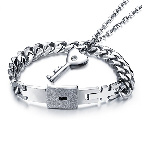 Fate Love Stainless Steel Love Lock Bracelet Bangle Heart Key Pendants Necklace Fashion Couples Jewelry