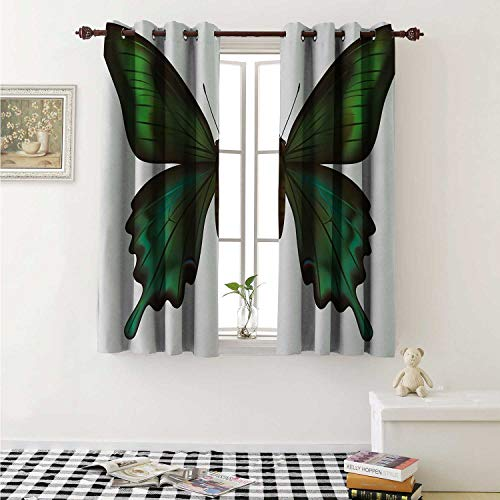 Swallowtail Butterfly Blackout Draperies for Bedroom Realistic Exotic Wildlife Creature in Green Tones Curtains Kitchen Valance W72 x L63 Inch Olive Green Jade Green Black
