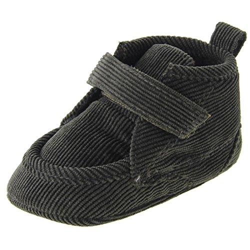 Dantiya Schwarz-Grün Schuhe für 0-18 Monate Baby, Winter-weich Sohle Krippe Warm Knopf Wohnungen Cotton Boot-KLEINKIND prewalker Schuhe (13cm (12-18 Monat))