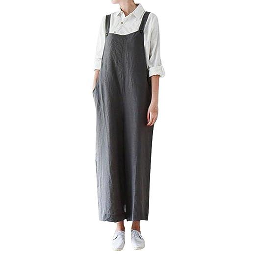 c8124fa1029d Amazon.com  Clearance Wide Leg Jumpsuit Cotton Cargo Pants Bib Overalls  Dungaree Trousers Romper Jushye (M