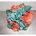 Coral-Turquoise-Rhinestone-Rose-Calla-Lily-Bridal-Wedding-Bouquet-Boutonniere
