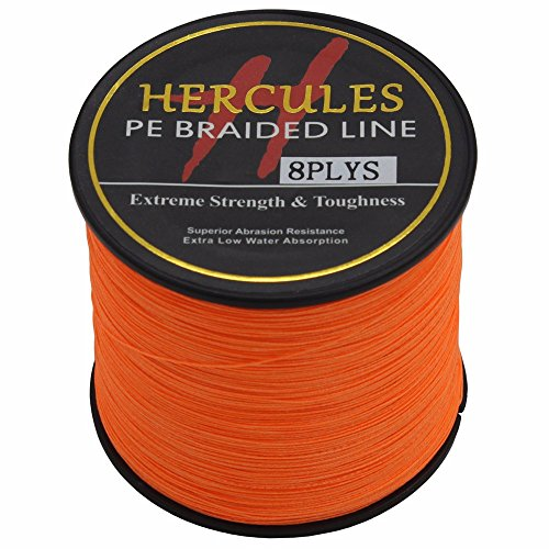 HERCULES 500m 547yds Orange 10lbs-300lbs Pe Braided Fishing Line 8 Strands (20lb/9.1kg 0.20mm)