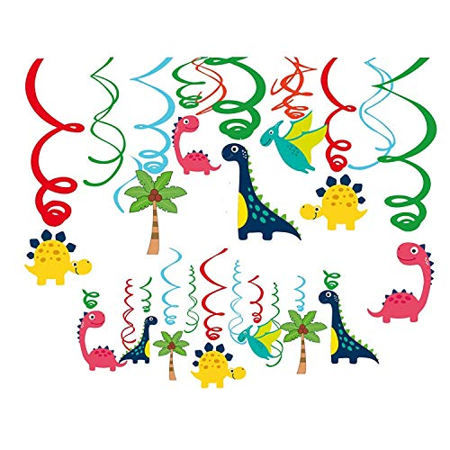 Dinosaur Hanging Ceiling Swirls Decorations(Assembled) with Ctue Jurassic Dino T-REX Cutouts, Birthday Party Decoration Photo Background,Birthday Baby Shower Party Supplies -