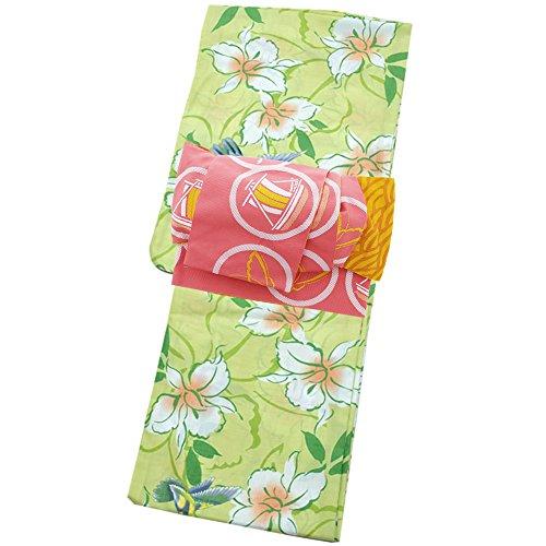 取り扱い紳士気取りの、きざな投獄[ KIMONOMACHI ] 作り帯 浴衣セット「グリーン ハチドリと花」S、F、TL、LL カリキュロ ポリエステル浴衣 女性浴衣