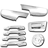 AutoModZone Chrome ABS 4 Door Handle Cover + Tailgate Handle Cover with Keyhole + Lower Half Mirror Cover + Gas Cover Combo for 07-13 Chevy Silverado
