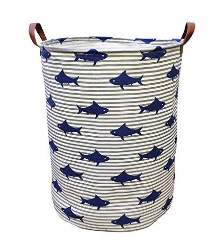 [해외]Shezzke 캔버스 스토리지 바구니 핸들 접이식 장난감 빈 주최자 플레이 룸 장난감 보육 바구니 / Shejianke Canvas Storage Basket with Handle Collapsible Toy Bin Organizer for PlayroomToy RoomNursery Hamper