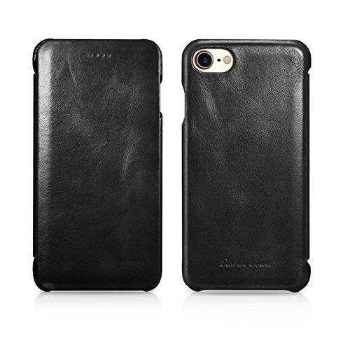 - iPhone 8 Leather Case - Genuine Leather iPhone 7 Case - Vintage Folding Flip Case and Flip Closure - Shockproof Slim Fit Cover for Apple iPhone 8 (2017) / iPhone 7 (2016) 4.7 Inch
