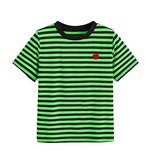 (SweatyRocks Women's Summer Casual Short Sleeve Striped T-Shirt Tee Tops Green S)