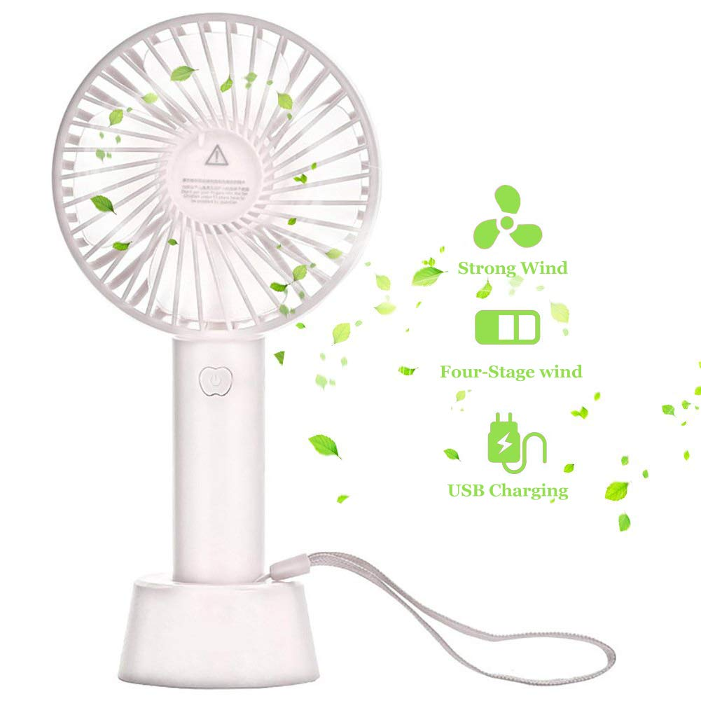 AWART Portable Handheld Fan Rechargeable Personal Table Fan, 3 Speeds 2000 mAh Builld-in Battery Mini USB Desk Fan, Personal Cooling for Traveling, Boating, Baby Stroller, Fishing, Camping White