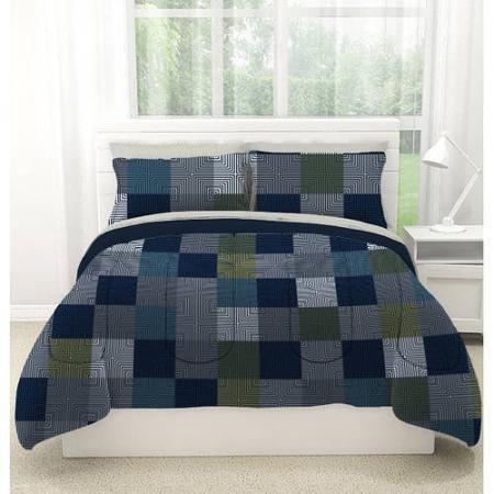 American Original Geo Blocks Bed in a Bag Bedding Comforter Set Size: Twin Xl (Blue) ()