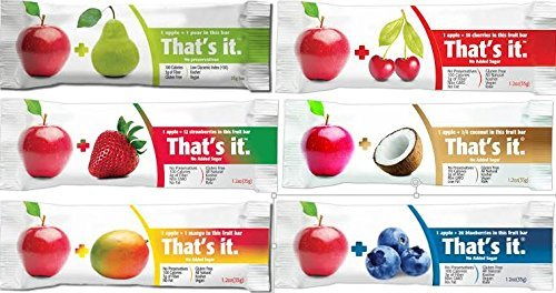 That's It Bar,complete Flavor Sampler,Variety pack of 12 (2 Apple+Coconut,2 Apple+ Cherry, 2 Apple+ Blueberry, 2 Apple+Strawberry,2 Apple+Mango,2 Apple+Pear)