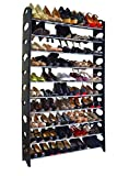 10 Tier Stainless Steel Shoe Rack / Shoe Storage Stackable Shelves, Holds 50 Pairs Of Shoes,60.62'' x 38.19'' x 7.48'' ,Black & Silver