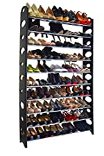 10 Tier Stainless Steel Shoe Rack / Shoe Storage Stackable Shelves, Holds 50 Pairs Of Shoes,60.62