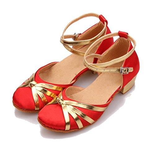 Wgwioo Enfants Enfants Femmes Chaussures Chaussures Cuir Cuir Soupe Salsa Tango Cheville Boucles Chaussures De Danse Ballroom Sandales De Danse Latine 8# F38ZG