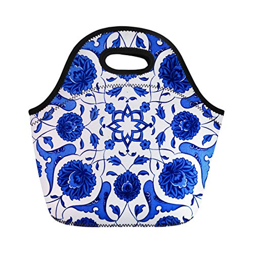 Semtomn Neoprene Lunch Tote Bag Blue Marble Ceramic Tiles Patterns From Turkey Turkish Flower Reusable Cooler Bags Insulated Thermal Picnic Handbag for Travel,School,Outdoors, Work