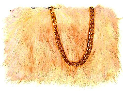 Metallic Designer Bag Zip Strap Ladies Plain Handbag Fur Clutch Chain Beige Fluffy With Faux Cxx8nFdwH