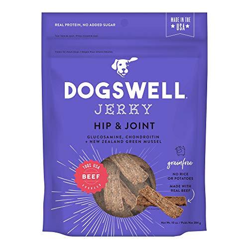 DOGSWELL Hip & Joint 100% Meat Dog Treats, Grain Free, Glucosamine Chondroitin & Omega 3, Beef Jerky 10 oz (Omega Beef Treats)