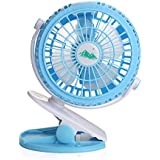 Handheld USB Desktop Kids Buggy Clip on Fan Pram Stroller 360 Degree Mini Fans for For Buggy, Pram, Pushchair, Baby Crib (Blue)