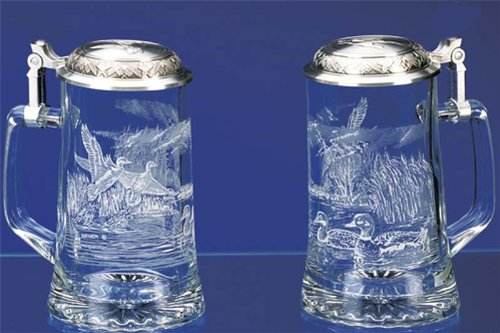 JAMES MEGER GLASS MALLARD STEIN, Etched German Glass Beer Stein w/ Pewter Lid, Made in Germany