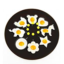 Xiangtat 8PC Stainless Steel Fried Egg Molds Rings Egg Pancake Mcmuffin Maker Cooking Tools Different Shapes Ring Heart Flower Kitchen Gadget Pancake Mold