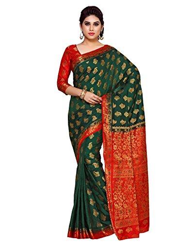 (KUPINDA Women's Artificial Silk Saree Kanchipuram Style (4141-206-2D-BGRN-RD) Color: Green)
