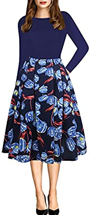 oxiuly Women's Vintage Patchwork Pockets Puffy Swing Casual Party Dress O