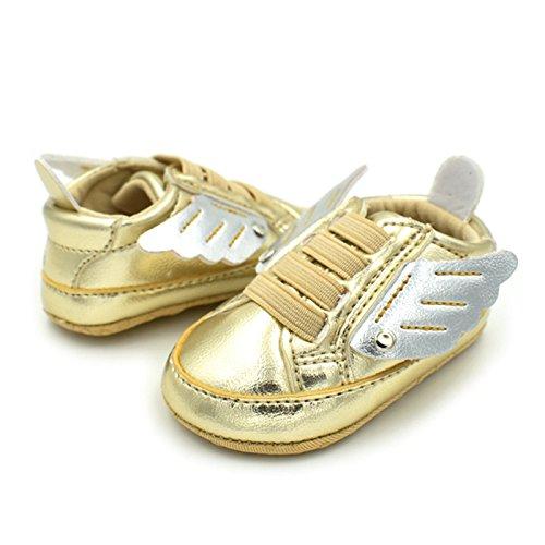 Summens Babydchuhe Kleinkind Schuhe Persönlichkeit Flügel 0-1 Jahre Alt Weiche Lauflernschuhe Gold