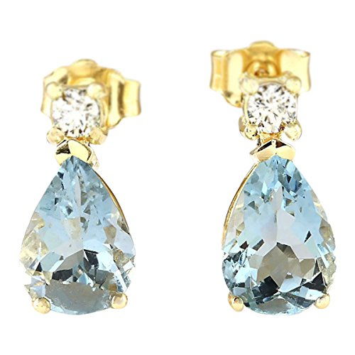 3.52 Carat Natural Blue Aquamarine and Diamond (F-G Color, VS1-VS2 Clarity) 14K Yellow Gold Drop Earrings for Women Exclusively Handcrafted in USA