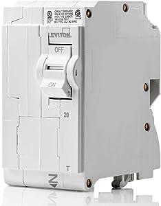 Leviton LB220-T 20 Amp, 2-Pole Plug-on Standard Branch Circuit Breaker, 120/240 VAC, White
