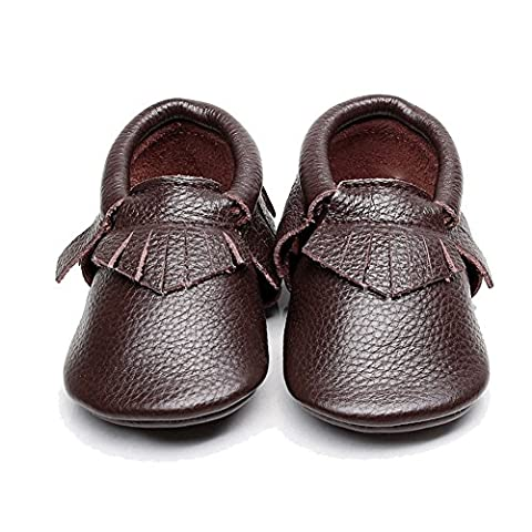 EQUICK Genuine Leather Baby Moccasins Infant Toddler shoes for Boys Girls, CB08, Brown, 6-12 Months - Leather Baby Moccasins
