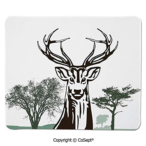 Non-Slip Rubber Base Mousepad,Deer Moose with Trees Silhouettes Outline of Village Mountain Fall Forest Decorative,Water-Resistant,Non-Slip Base,Ideal for Gaming (7.87