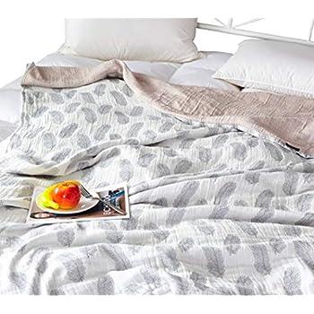 f8236b4fde Scientific Sleep White Feather Cute Cozy Lightweight Muslin Cotton Blanket  Twin