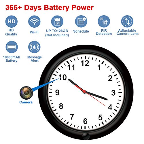 Wall Clock WiFi Security Camera Fuvision Battery Camera Clock with Adjustable Camera Lens, 365 Days Battery Life, Remote Live View, Motion Detect, Loop Record Covert Cam for Home Security(Video Only!)