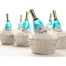 Champagne Bottle Cupcake Topper Kit - (12) Mini Champagne Bottle Novelties, (3.2oz) White Rock Sugar (30) Silver Foil Baking Cups