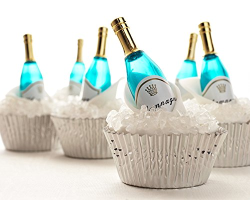 21st Birthday Cookies (Champagne Bottle Cupcake Topper Kit - (12) Mini Champagne Bottle Novelties, (3.2oz) White Rock Sugar (30) Silver Foil Baking Cups)
