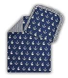 Kinderwagenset Baby Bettwäsche Garnitur für Kinderwagen Kissen Decke Füllung Anker groß blau/Steifenmuster (2 tlg.)