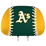 Promark Oakland Athletics A's Printed Full Color 2-Pack Head Rest Covers Elastic Auto Baseball