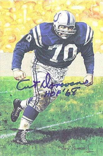 Art Donovan Autographed/Signed Baltimore Colts Goal Line Art HOF 68 Blue 11098 - Original NFL Art and Prints Art Donovan Signed Baltimore Colts