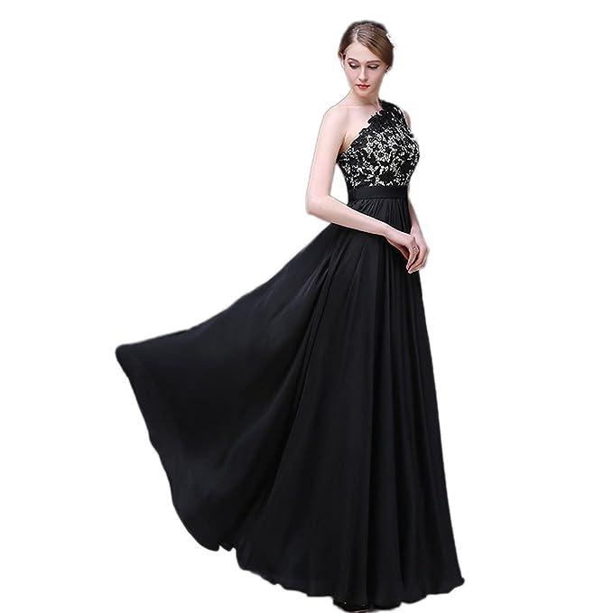 Xnaihuafei parte trasera abierta un hombro vestido de tul negro largo celebridad vestido de fiesta Negro