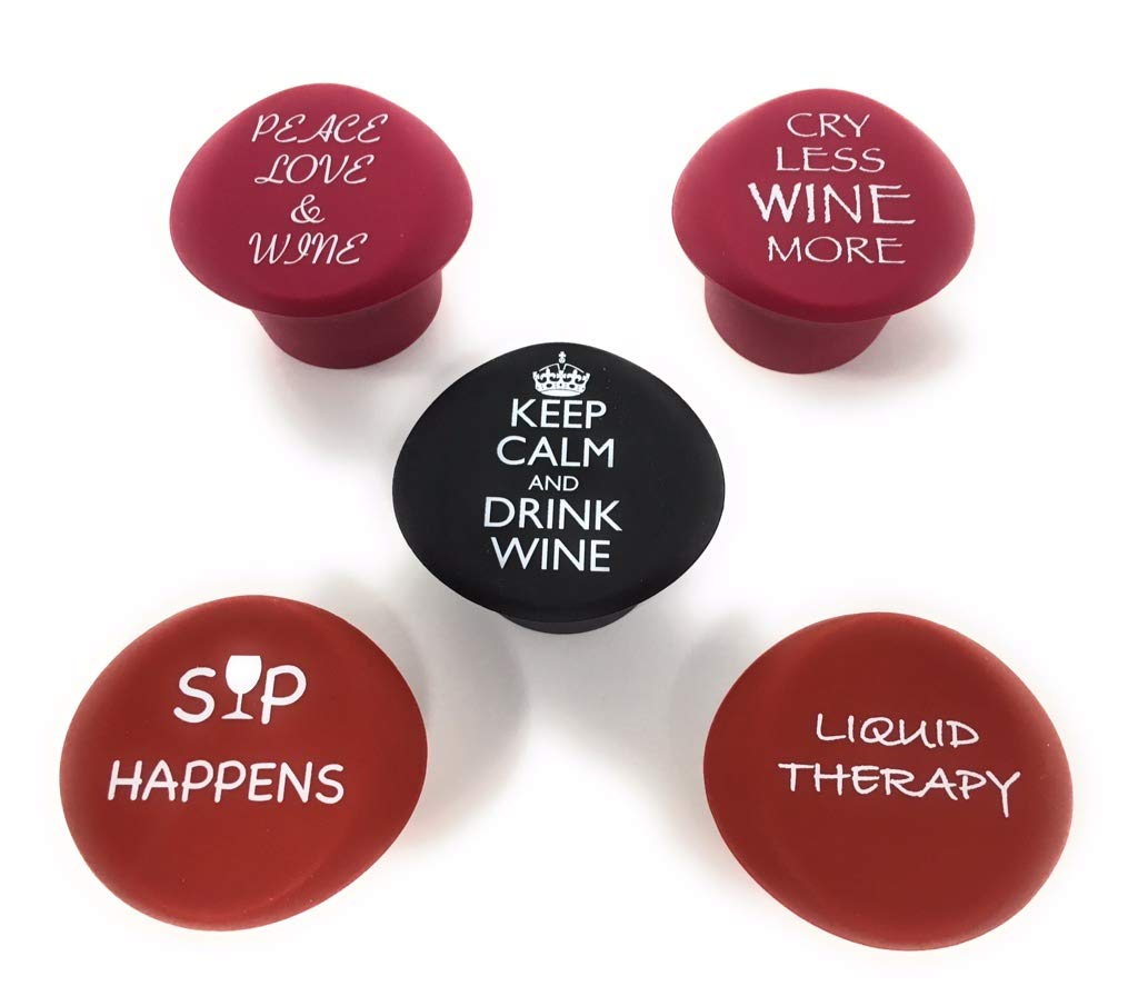 5 Wine Stoppers - Funny Silicone Reusable Corks Best Wine Gifts Add Your Own Personalized Touch on Bottles Top Perfectly Fits to Seal and Preserve Your Favorite Wine Cap Wedding Favor (more funny) Wine Gear 2GO COMINHKPR130631